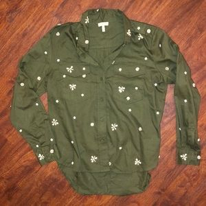 Joie Embellished Green Button Down L